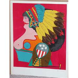 Richard Lindner,  Miss American Indian, Signed Litho
