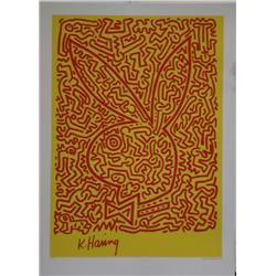 Keith Haring, Red & Yellow Bunny, Serigraph