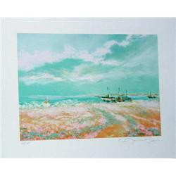 Claude Manoukian, Les Barques, Signed Litho