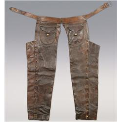 Cowboy Straight Leg Chaps with tooled belt, 1890-1900. Fine Condition!