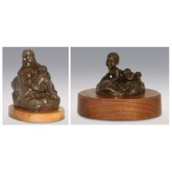 Gary Schildt, Two Bronzes, Native Mother and Child, 1969, and Eric, 1967