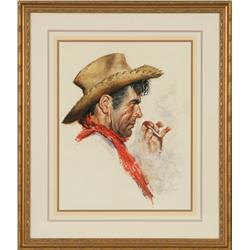 Tom Ryan, watercolor and acrylic. Cowboy Artists of America.