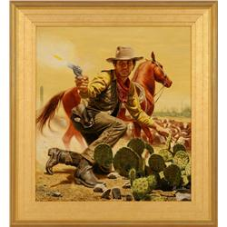 Morton Kunstler, oil on board, Cover illustration for Burt Arthur's book Nevada.