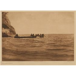 Edward S. Curtis, photogravure on vellum, The Lower Columbia, Plate 286