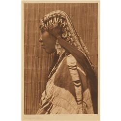 Edward S. Curtis, photogravure on vellum, Wishham Girl, Profile. Plate 279