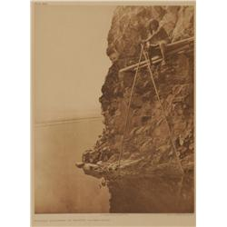 Edward S. Curtis, photogravure on tissue, Fishing Platform on Trinity River. Plate 465