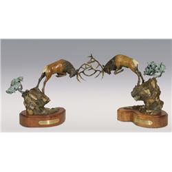 "Larry Gay, two bronzes, 1992, 12"" x 15"", Olympic Challenger and Olympic Defender"