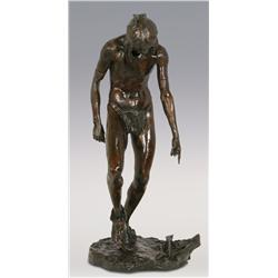 "Louis Potter, bronze, 291/2"" x 12 1/2"" x 13 1/2"", Indian Brave Dancing with Head Down"