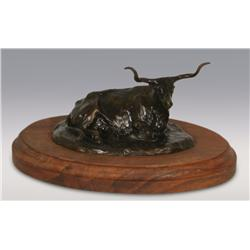 "Robert Scriver, bronze, 1974, 3 1/2"" x 7"" x 4"", Steer, Cowboy Artists of America"