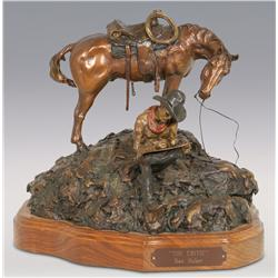 "Dan Huber, bronze, 1984, 13"" x 15"", The Critic"