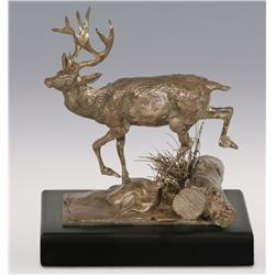 "Charles M. Russell, Trigg silver bronze, 5 1/2"" x 5 1/2"" x 3"", Buck Bounding Over Log"