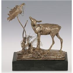 """Charles M. Russell, Trigg silver bronze, 5 1/2"""" x 5 1/2"""" x 3"""", Standing Doe"""