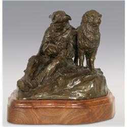 """Robert Scriver, bronze, 10"""" x 12"""" x 11"""", Capt Lewis and Our Dog Scannon. Cowboy Artists of America"""