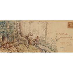 O.C. Seltzer illustrated envelope, watercolor and letter, dated 1908