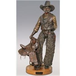 "Jerry Snodgrass, large bronze, 1991, 40"" x 21"" x 18"", Wally Ambrose Allen. Impressive size!"