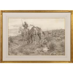 Tom Lovell, charcoal. Cowboy Artists of America.