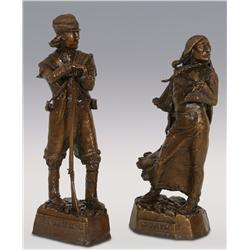 "Leo Beaulaurier, two bronzes, Sacajawea 13 1/2"" x 5"" and Meriwether Lewis 14 1/2"" x 5 1/2"""
