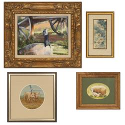 4 paintings by Betty R. Gates, S. Gallagher, Charles Rowe and Dee Sichting