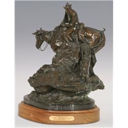 "Herb Mignery, bronze, 1992, 17"" x 15"" x 13"", The Homestead. Cowboy Artists of America."