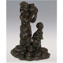 "Gary Schildt, bronze, 1975, 13"" x 10"" x 10"", Woman and Child with Goat"