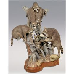 "Eric Berg, bronze, 1989, 23"" x 17"" x 20"", Raccoon Family in Tree"