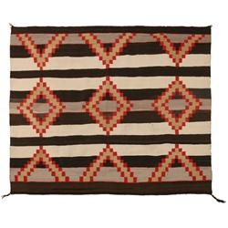 "Navajo Weaving, 55"" x 65"", Third Phase Chief blanket style,C. 1940s"