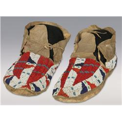 Sioux Beaded Moccasins, C. 1890, fine condition