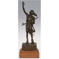 "Charles M. Russell, Bronze, 13"" x 4"" x 3 1/2"", Peace"