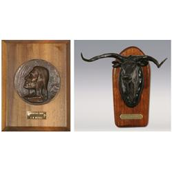 "Charles M. Russell, Two Bronzes, Mountain Chief, 6"" and Steer Head, 4"", 1975. RBW"