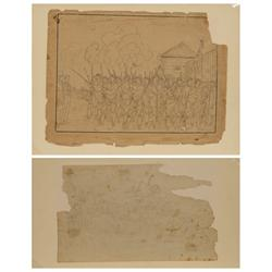 Peter Rindisbacher, two pen and pencil drawings, along with book featuring drawings