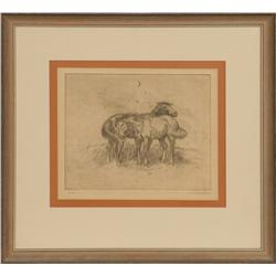 Joe Beeler, etching. Cowboy Artists of America.