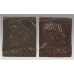 """Charles Russell, bronze bookends, 5"""" x 4 3/4"""" x 3"""", 1920"""