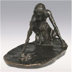 Charles M. Russell, bronze, 4  x 4  x 8 , The Snake Priest, Zoppo Foundry