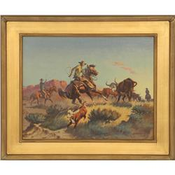 John Hampton, oil on canvas, dated 1958. Cowboy Artists of America.