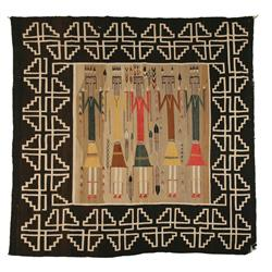 "Navajo Weaving, Yei design, 72"" x 70"", 1930s"