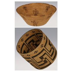 """Pair of Papago Baskets, 5"""" x 13"""" and 10"""" x 11"""""""