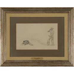Will James, mixed medium, drawing in Cow Country book by Will James 1927