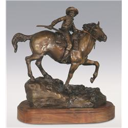 "Robert Scriver, bronze, 1991, 15"" x 12"" x 9"", 1861 Mail. Cowboy Artists of America."