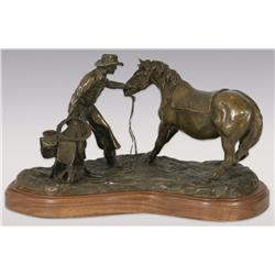 "Robert Scriver, bronze, 9"" x 17"" x 7"", 1951, 4 o'clock in the Morning. Cowboy Artists of America."