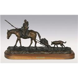 "Robert Scriver, bronze, 1995, 15"" x 25"" x 11"", New Camp. Cowboy Artists of America."