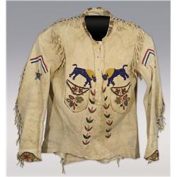 Indian Beaded Wild West Man's Show Shirt on antelope hide