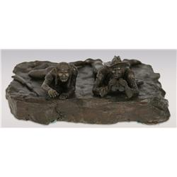 "Grant Speed, bronze, 1967, 4"" x 11"" x 10"", The Scouts. Cowboy Artists of America."