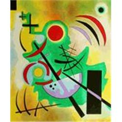 Kandinsky  Standhaftes Grun  20x24 Signed Ltd Ed Oil on Canvas