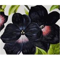 O'Keeffe  Black and Purple Petunias  20x24 Signed Ltd Ed Oil on Canvas
