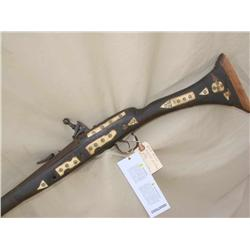 MIQUELET FLINTLOCK RIFLE, NORTH AFRICAN SNAFANCE.  HAS BONE INLAYS, ORNATE ACTION, (PRE98)