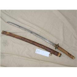 "JAPANESE ""LAST DITCH"" ARMY OFFICERS SWORD, 25 IN  BLADE WITH UNDULATING TEMPER LINE. UNSIGNED TANG,"