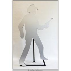 Silver Silhouette of Cowboy