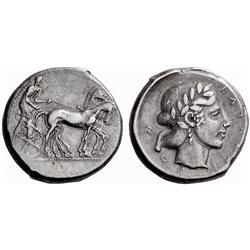 Greek coins. Catana. Tetrdrachm ca 445, AR 17.21g.