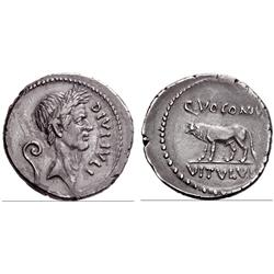 Roman Rep. D.Julius and Q. Voconius Vitulus. Denarius, 40, AR 3.36g.
