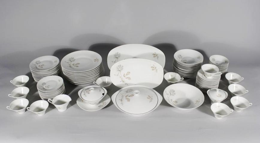 A Set of Hutschenreuther Porcelain Dinnerware, Forest Rose Pattern,
